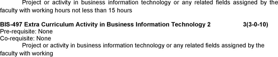 Curriculum Activity in Business Information Technology 2 3(3-0-10)  assigned by the