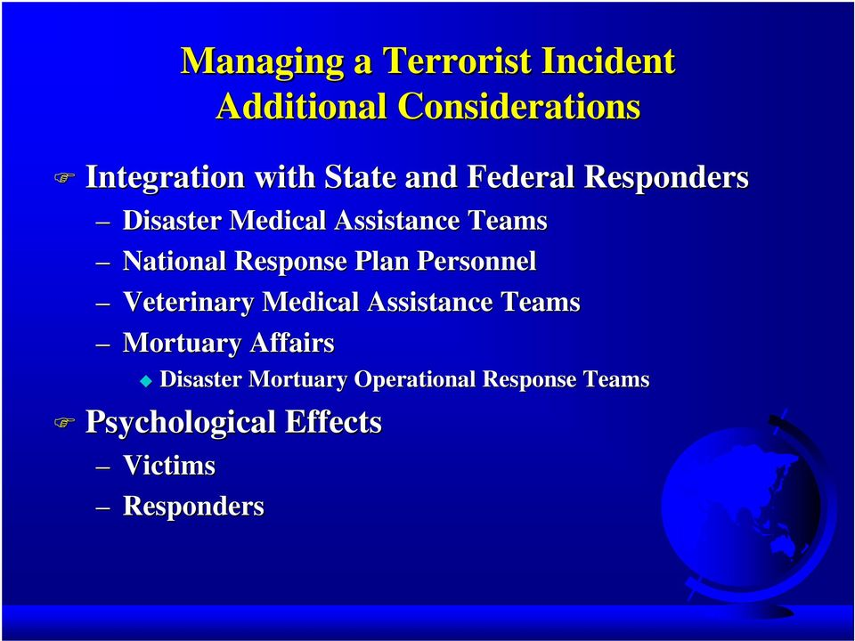 Response Plan Personnel Veterinary Medical Assistance Teams Mortuary Affairs