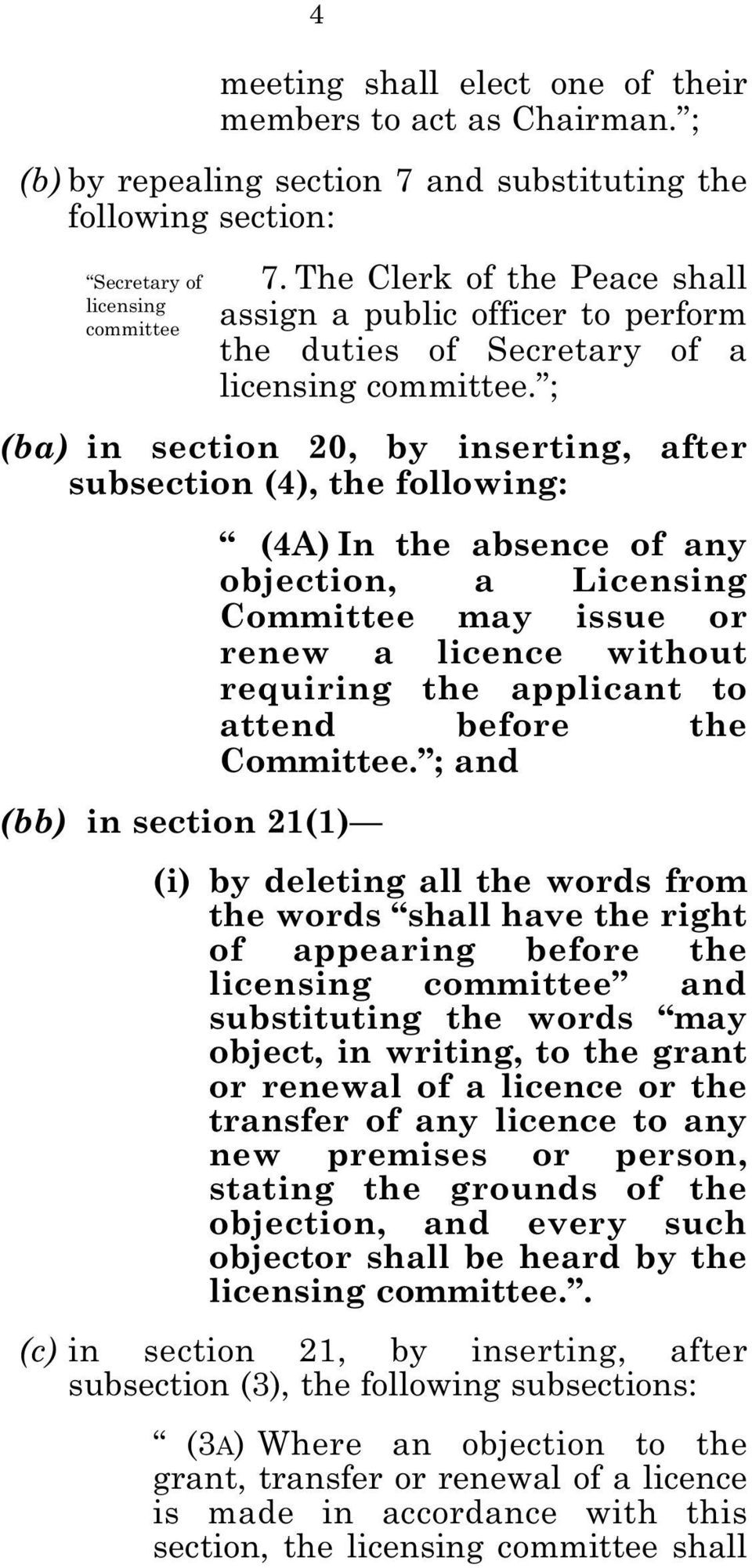 ; (ba) in section 20, by inserting, after subsection (4), the following: (bb) in section 21(1) 4 (4A) In the absence of any objection, a Licensing Committee may issue or renew a licence without