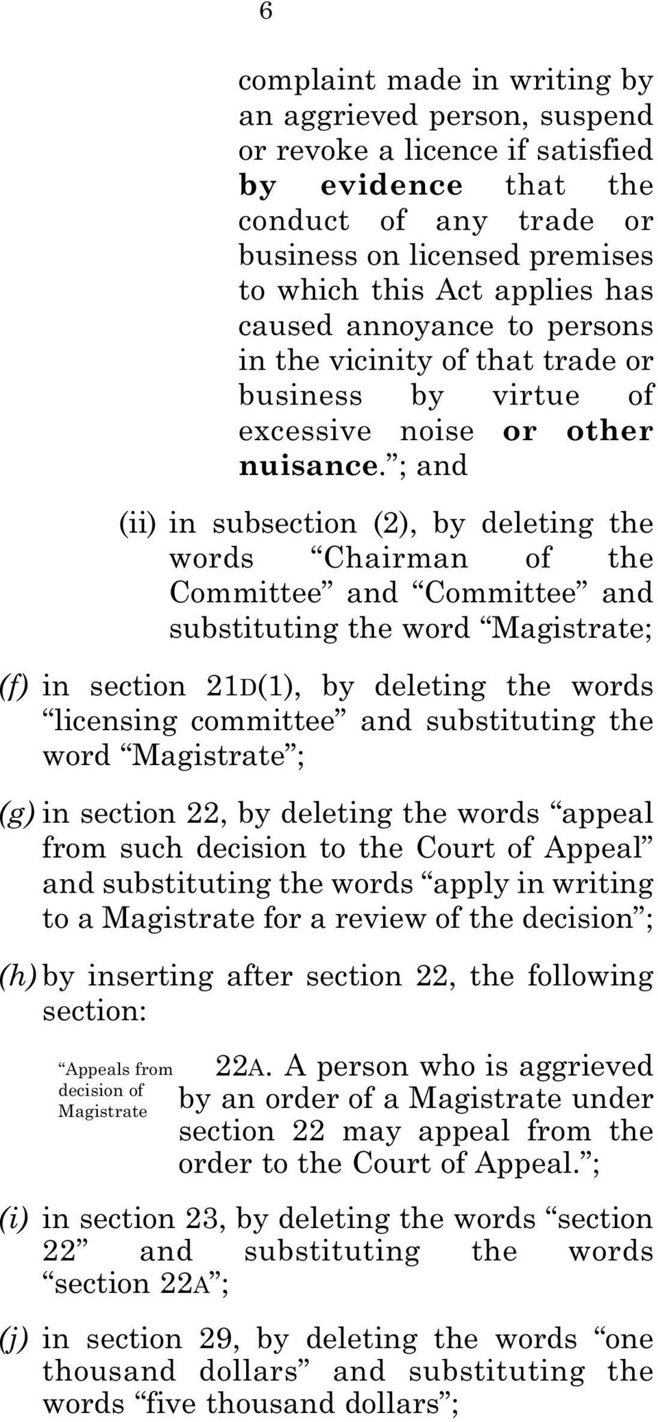 ; and (ii) in subsection (2), by deleting the words Chairman of the Committee and Committee and substituting the word Magistrate; (f) in section 21D(1), by deleting the words licensing committee and