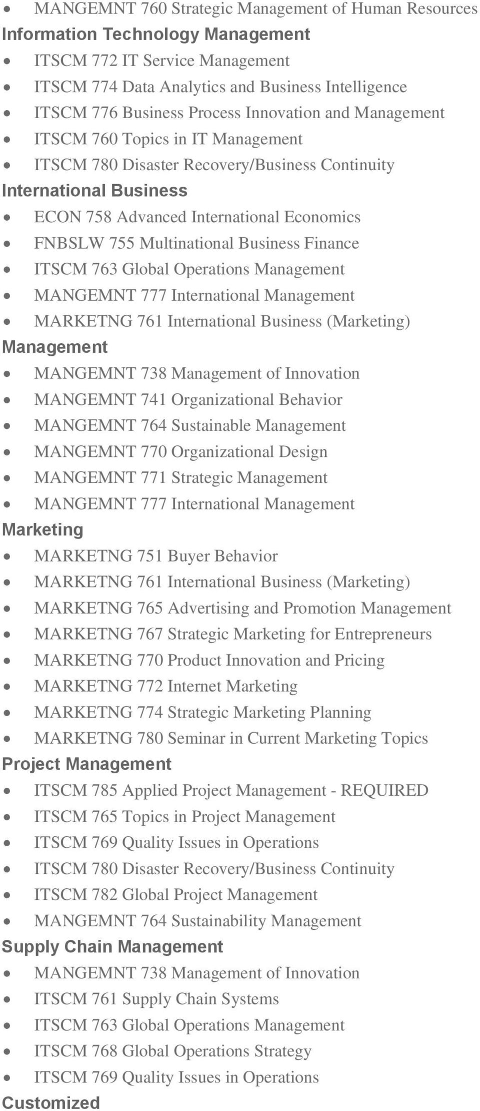 Business Finance ITSCM 763 Global Operations Management MANGEMNT 777 International Management MARKETNG 761 International Business (Marketing) Management MANGEMNT 738 Management of Innovation MANGEMNT