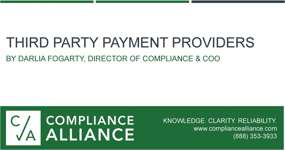 COMPLIANCE & COO KNOWLEDGE. CLARITY.
