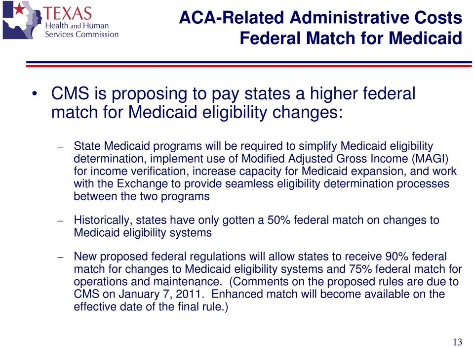 seamless eligibility determination processes between the two programs Historically, states have only gotten a 50% federal match on changes to Medicaid eligibility systems New proposed federal