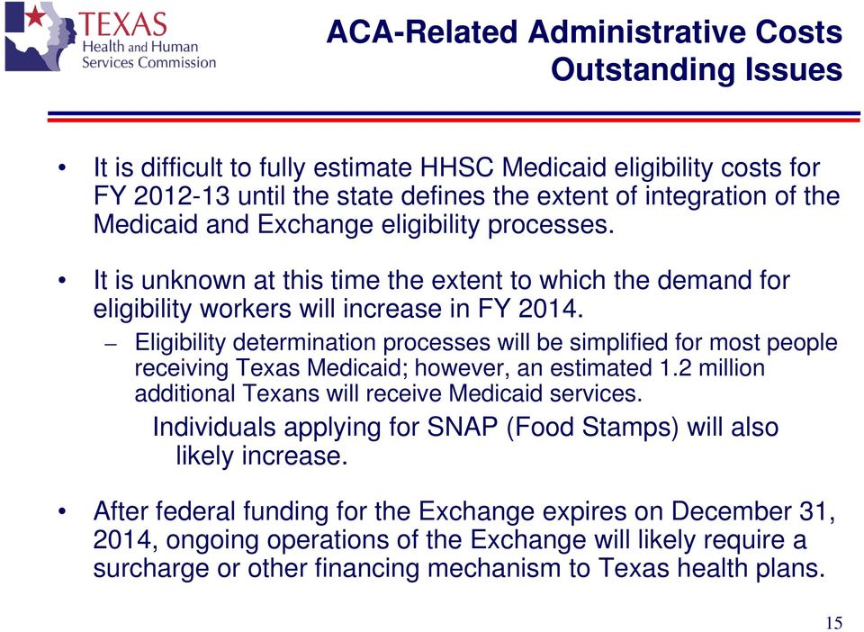 Eligibility determination processes will be simplified for most people receiving Texas Medicaid; however, an estimated 1.2 million additional Texans will receive Medicaid services.