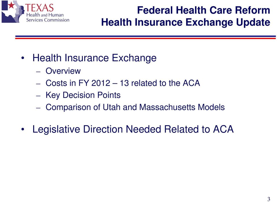 the ACA Key Decision Points Comparison of Utah and