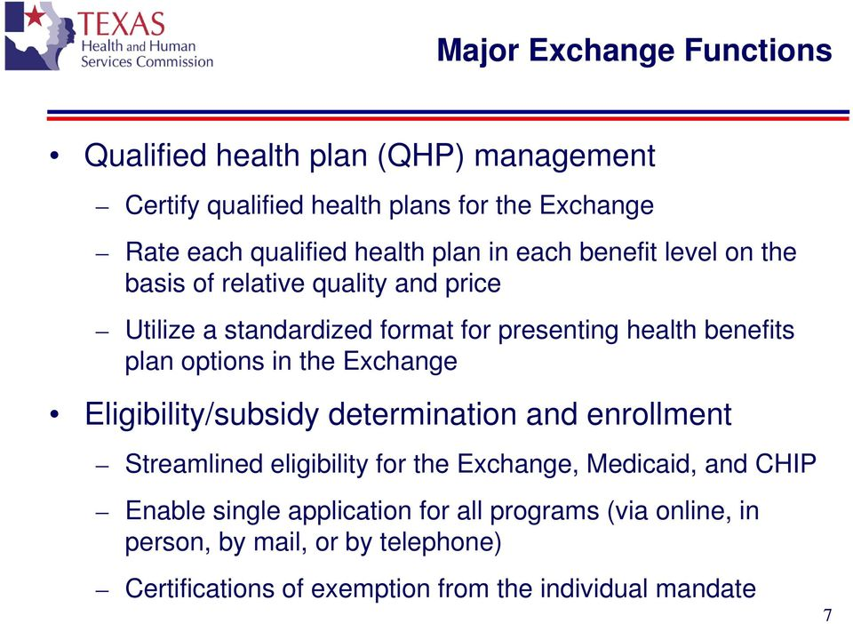 options in the Eligibility/subsidy determination and enrollment Streamlined eligibility for the, Medicaid, and CHIP Enable single