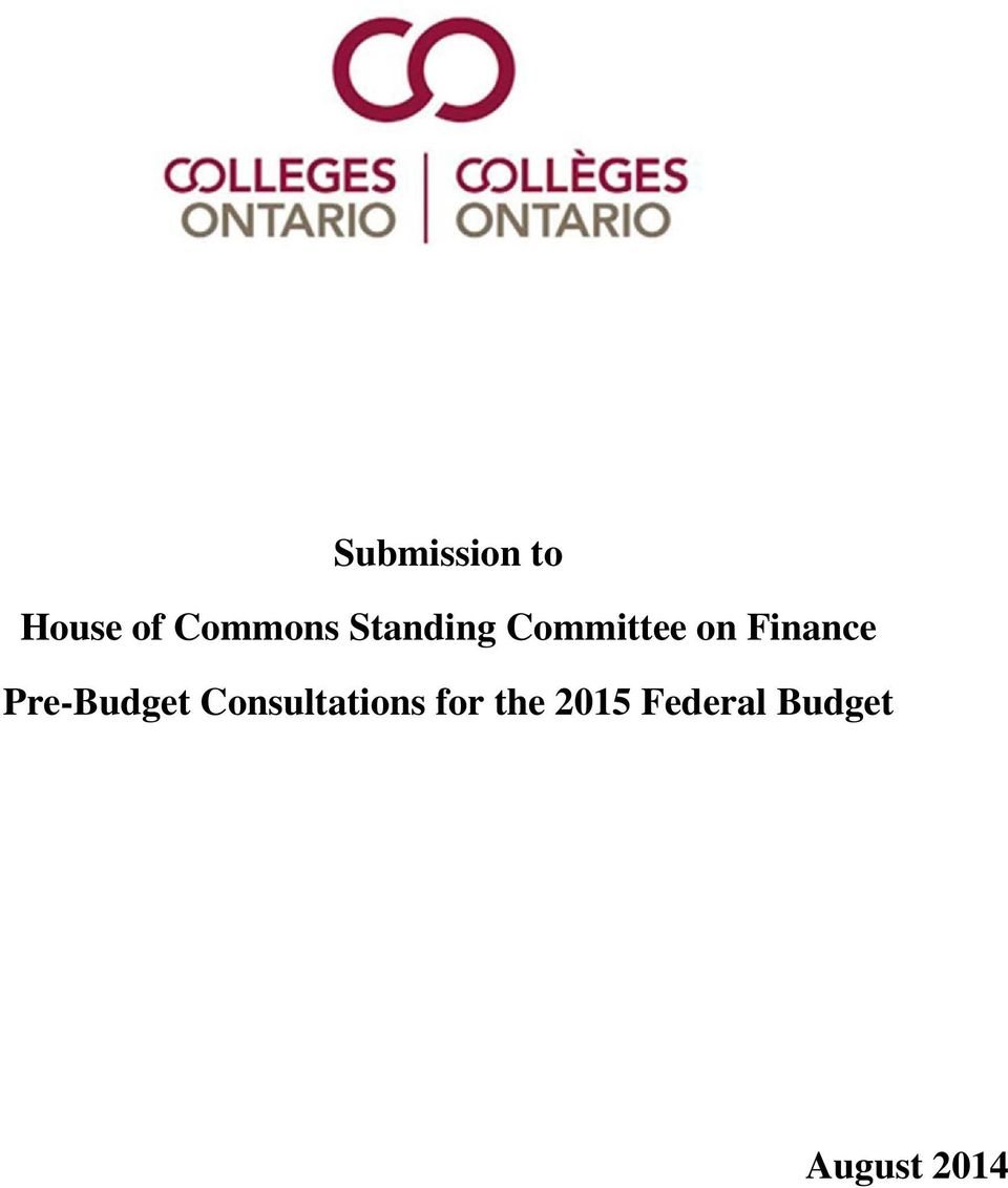 Pre-Budget Consultations for