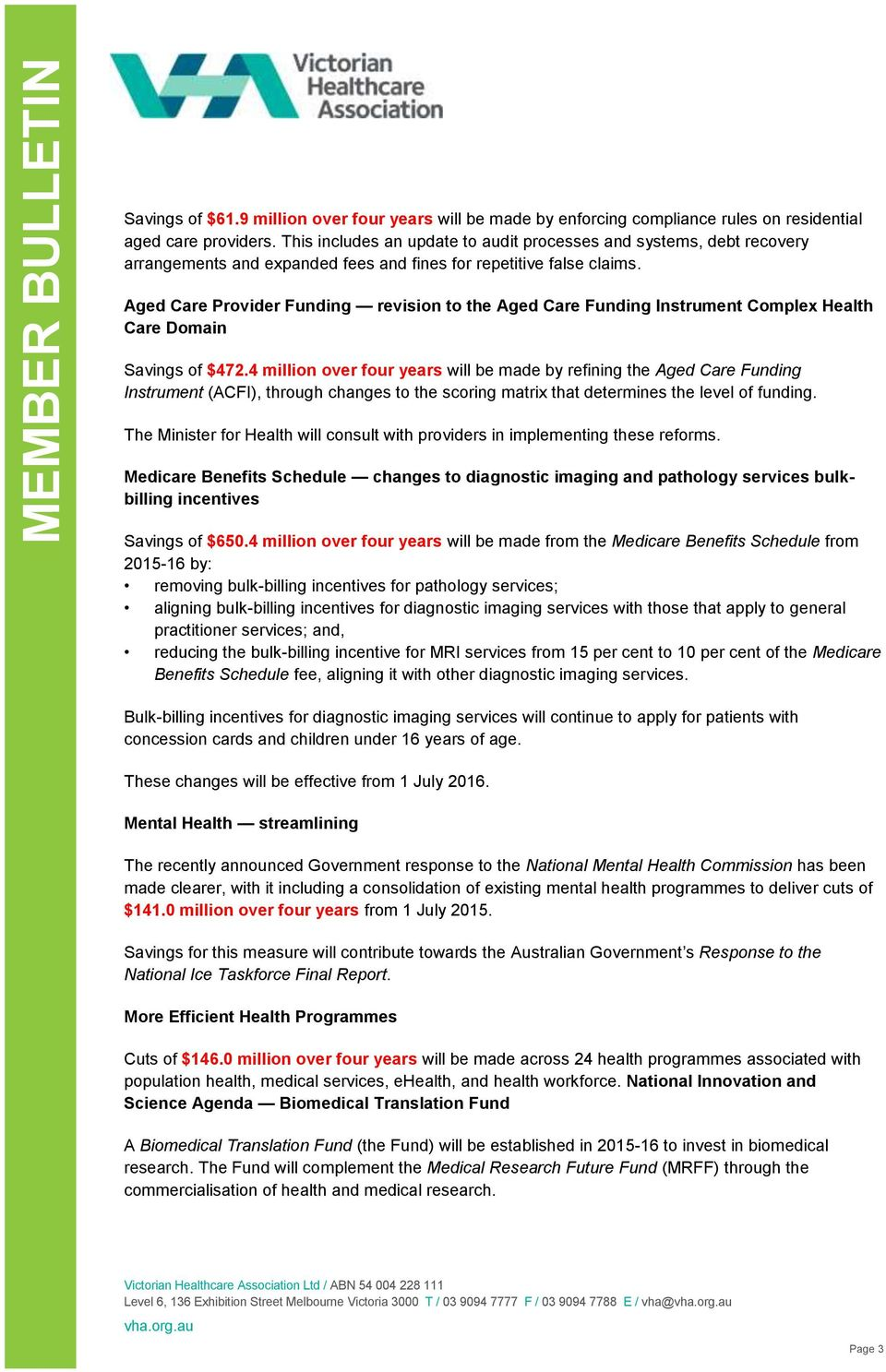 Aged Care Provider Funding revision to the Aged Care Funding Instrument Complex Health Care Domain Savings of $472.