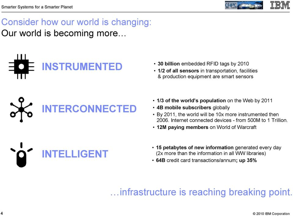 10x more instrumented then 2006. Internet connected devices - from 500M to 1 Trillion.