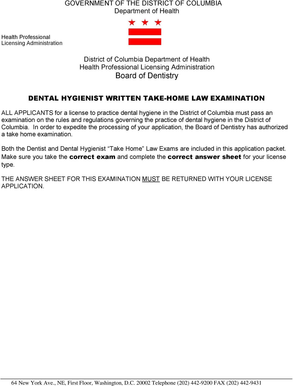 regulations governing the practice of dental hygiene in the District of Columbia.