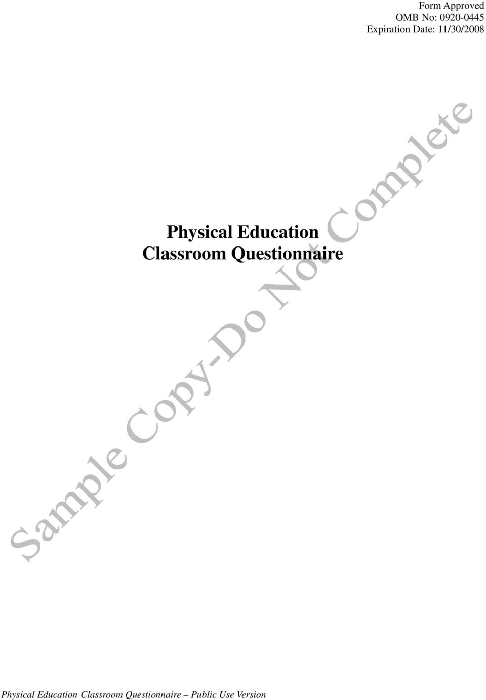 Classroom Questionnaire Physical