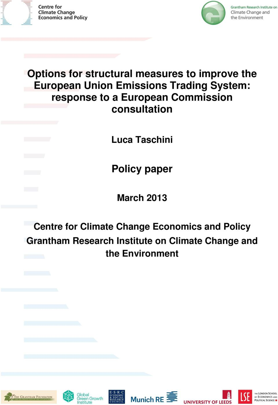 Taschini Policy paper March 2013 Centre for Climate Change Economics