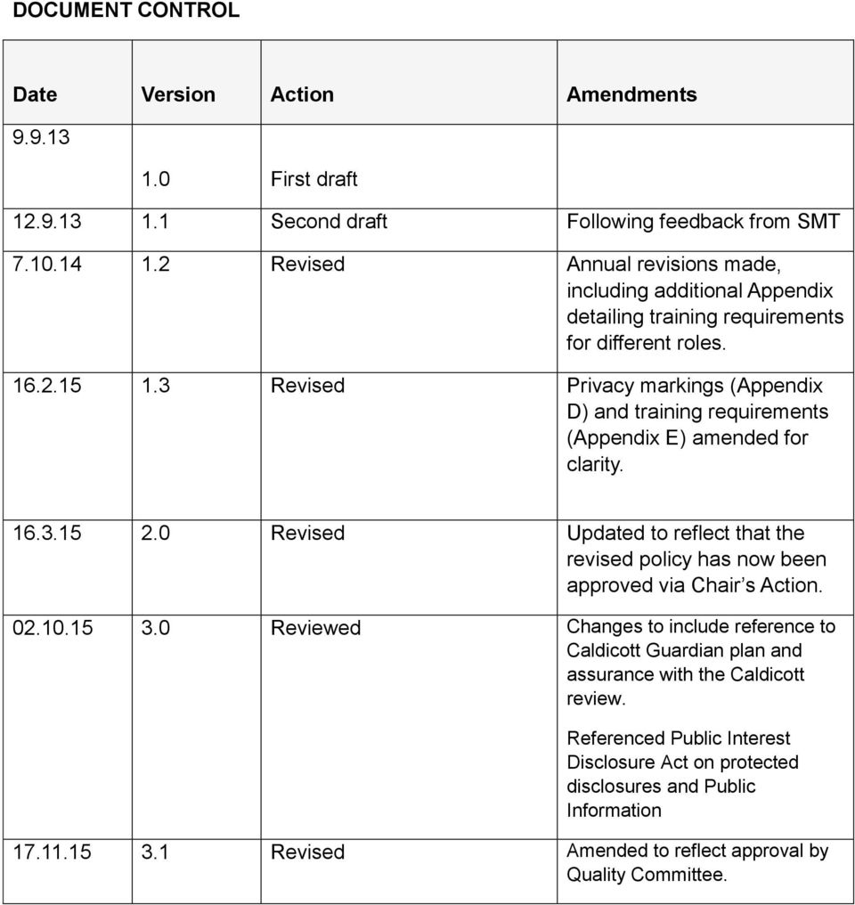3 Revised Privacy markings (Appendix D) and training requirements (Appendix E) amended for clarity. 16.3.15 2.