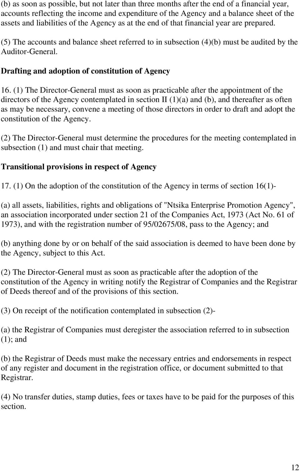 Drafting and adoption of constitution of Agency 16.
