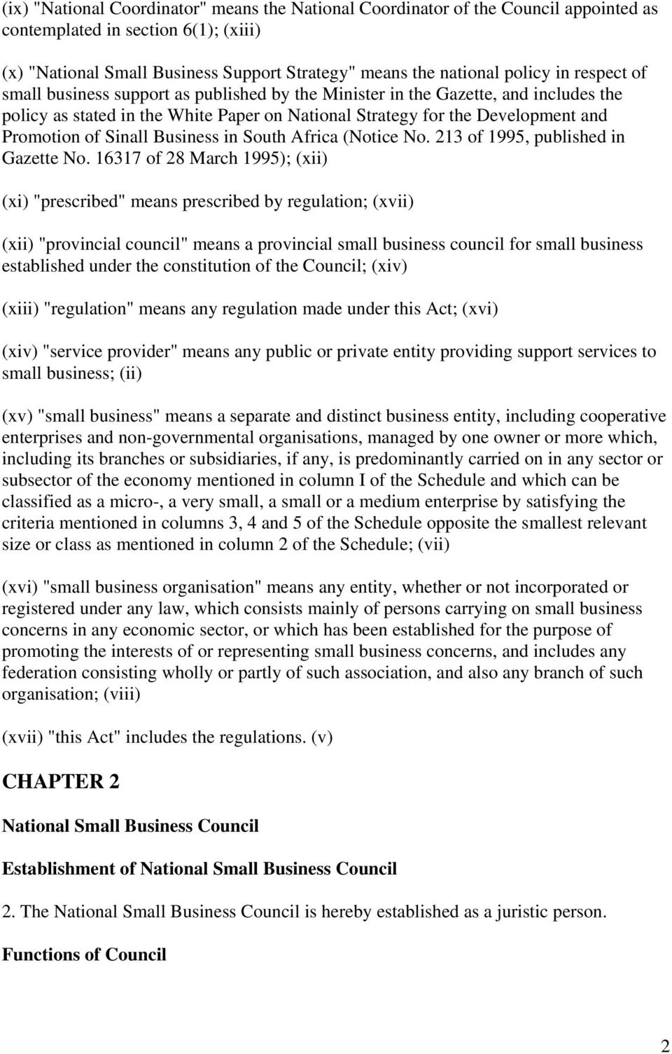 Business in South Africa (Notice No. 213 of 199, published in Gazette No.