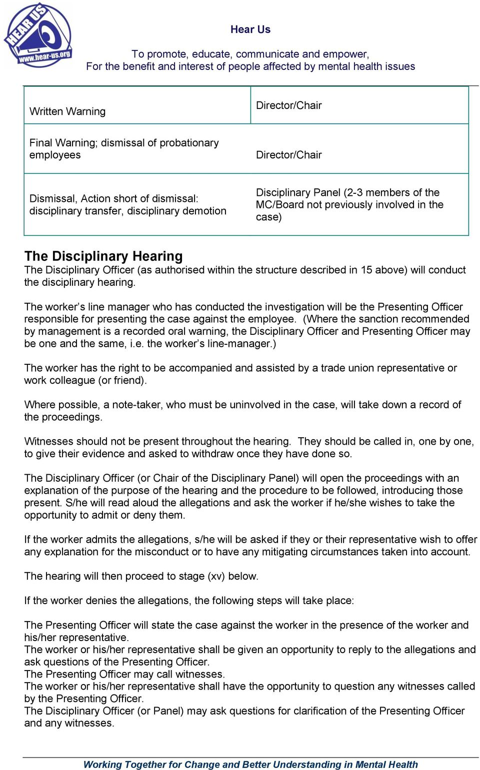 disciplinary hearing. The worker s line manager who has conducted the investigation will be the Presenting Officer responsible for presenting the case against the employee.