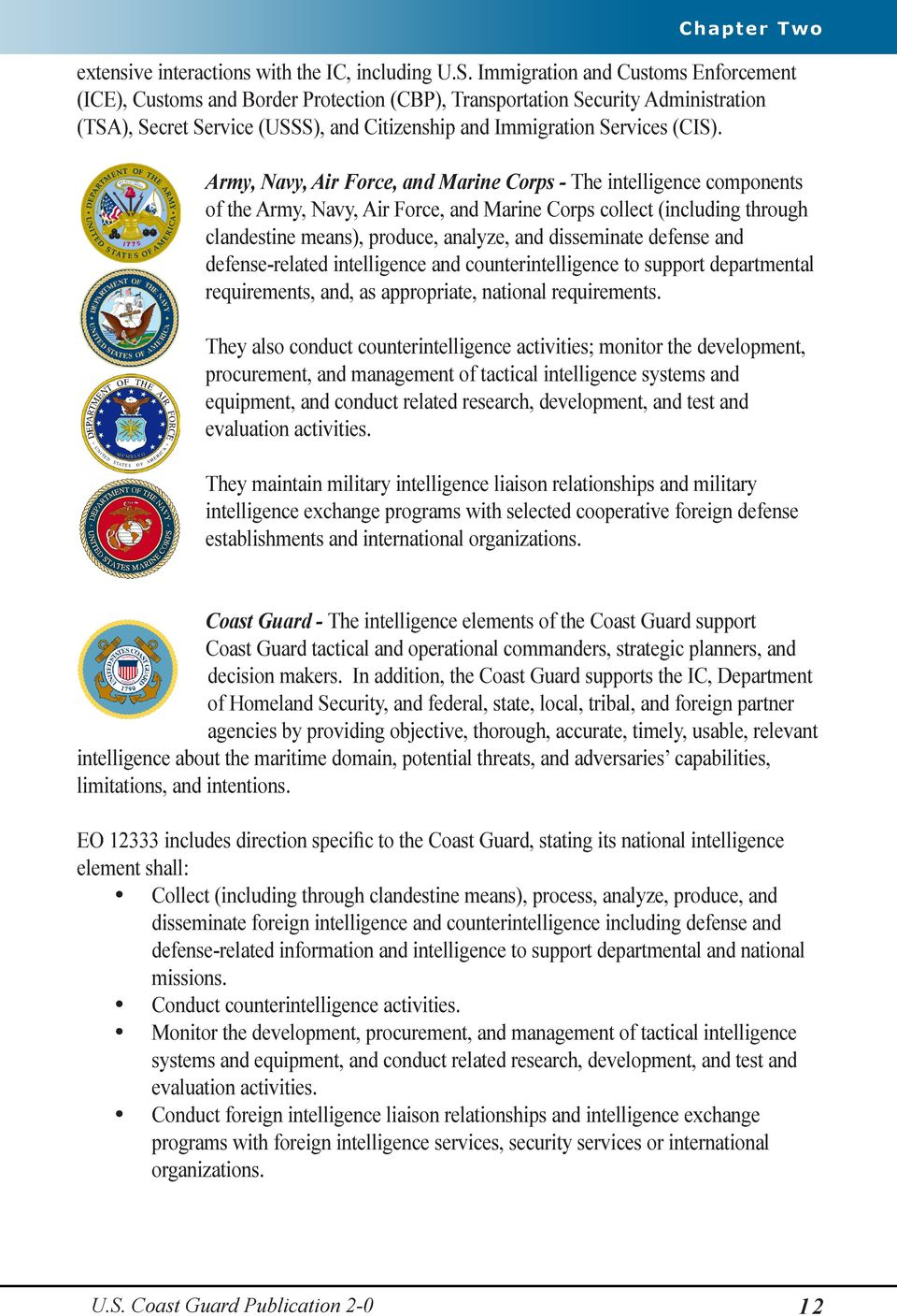 Army, Navy, Air Force, and Marine Corps - The intelligence components of the Army, Navy, Air Force, and Marine Corps collect (including through clandestine means), produce, analyze, and disseminate