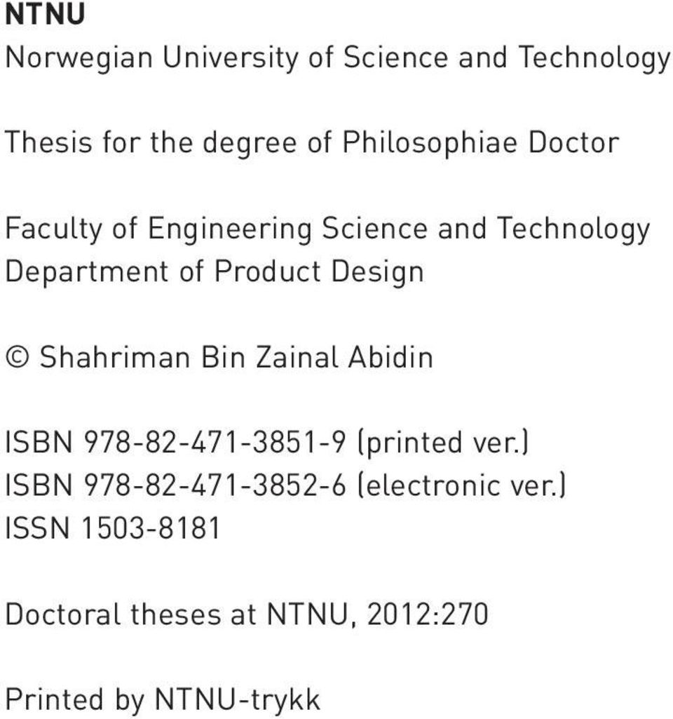 Norwegian university of science and technology thesis