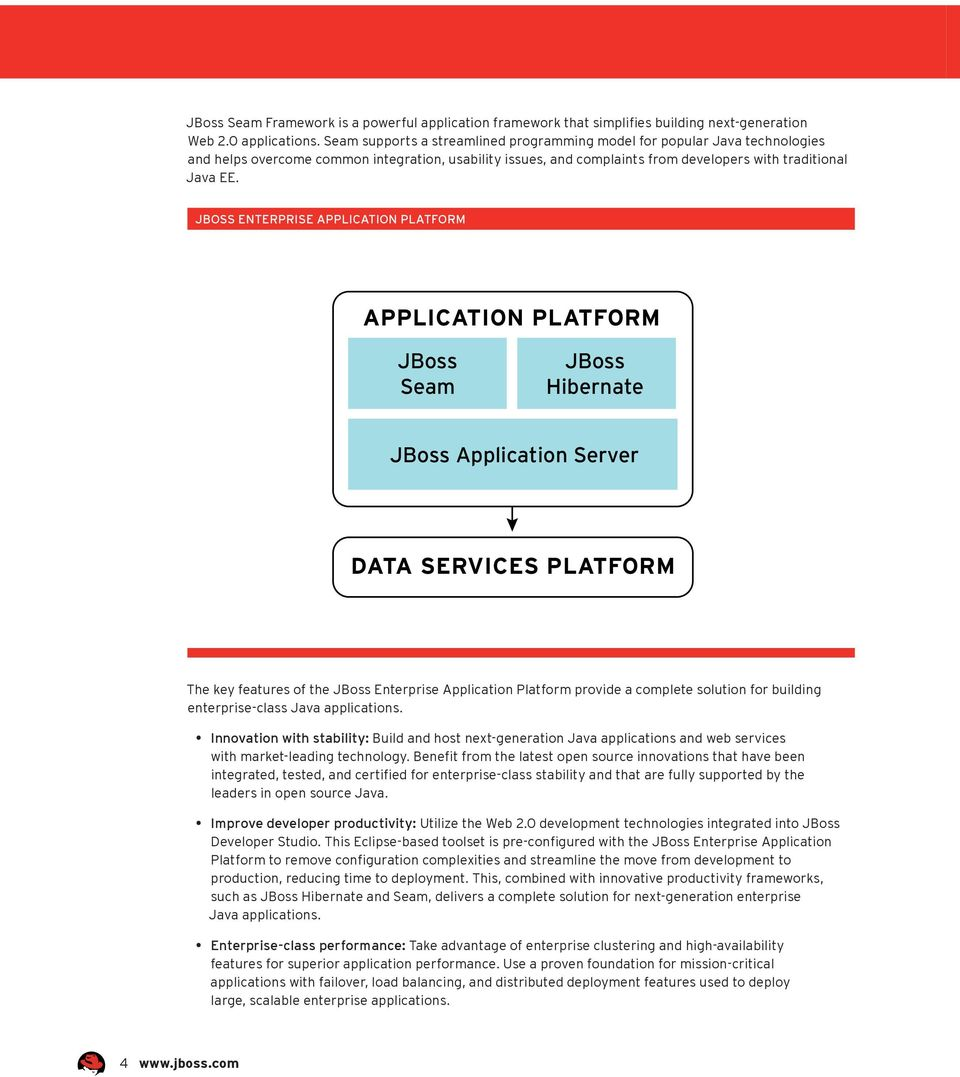 JBoss enterprise Application Platform The key features of the JBoss Enterprise Application Platform provide a complete solution for building enterprise-class Java applications.