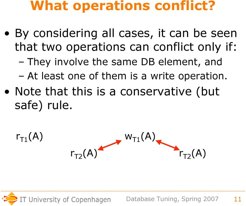 conflict only if: They involve the same DB element, and At least one
