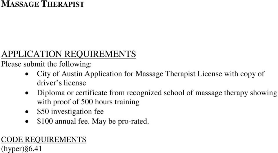 certificate from recognized school of massage therapy showing with proof of 500 hours