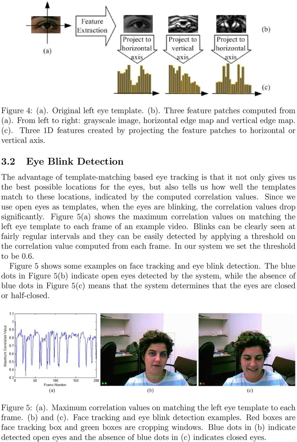 2 Eye Blink Detection The advantage of template-matching based eye tracking is that it not only gives us the best possible locations for the eyes, but also tells us how well the templates match to