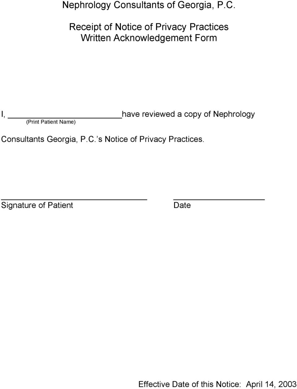 Consultants Georgia, P.C. s Notice of Privacy Practices.