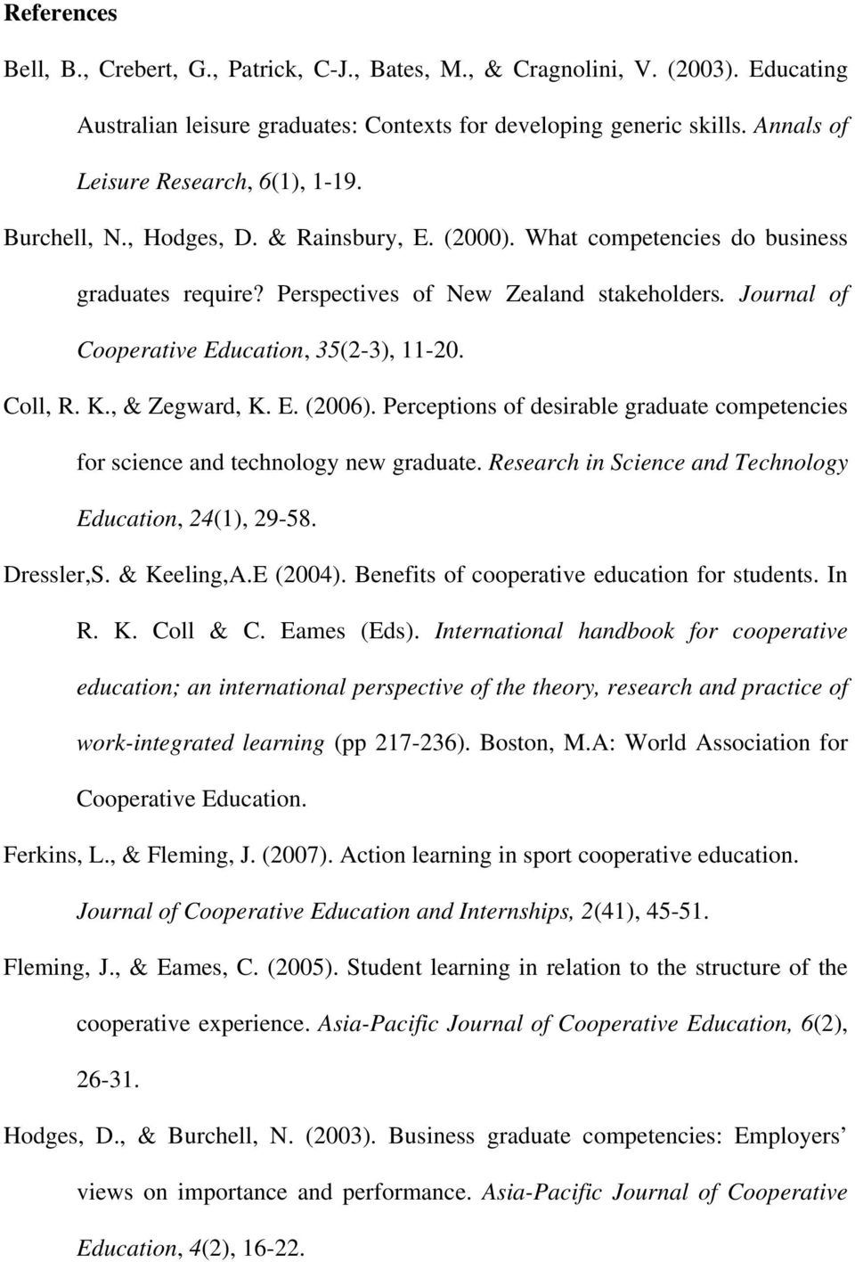 Journal of Cooperative Education, 35(2-3), 11-20. Coll, R. K., & Zegward, K. E. (2006). Perceptions of desirable graduate competencies for science and technology new graduate.