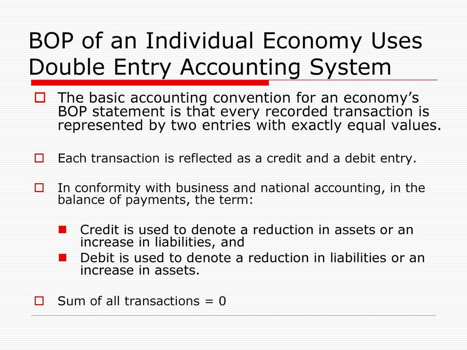Each transaction is reflected as a credit and a debit entry.