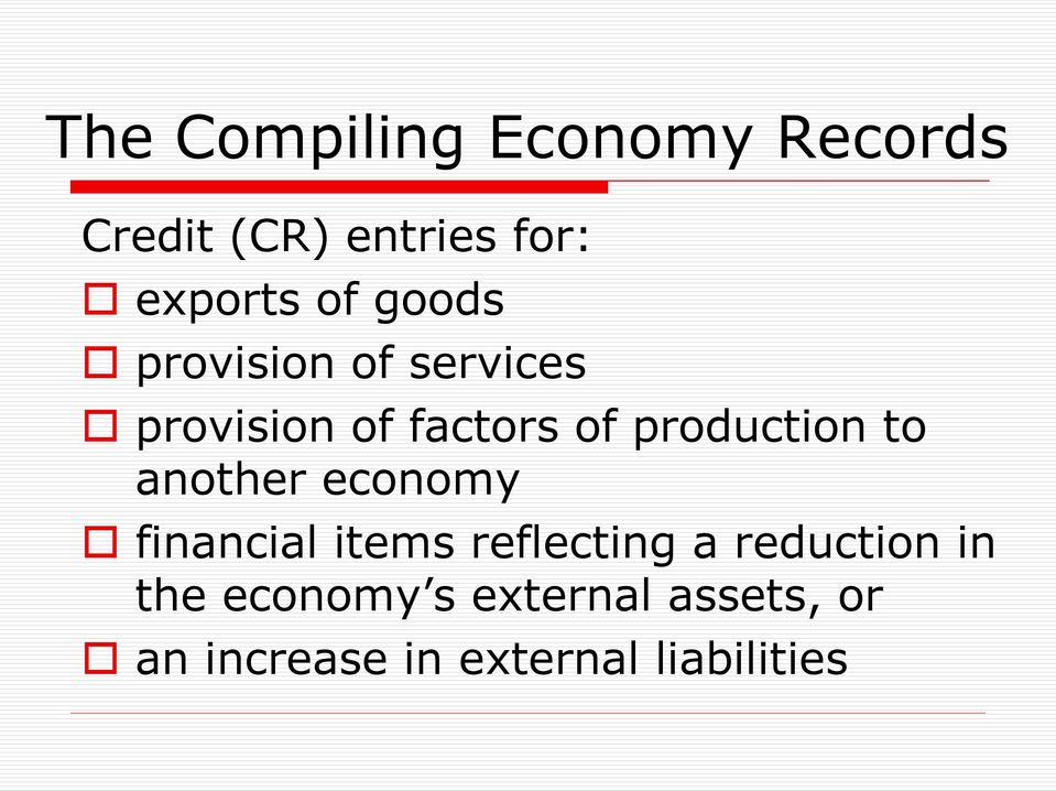 production to another economy financial items reflecting a