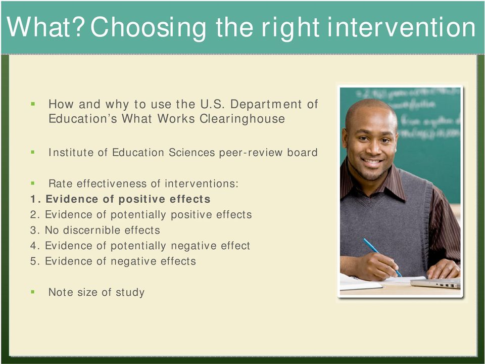 board Rate effectiveness of interventions: 1. Evidence of positive effects 2.