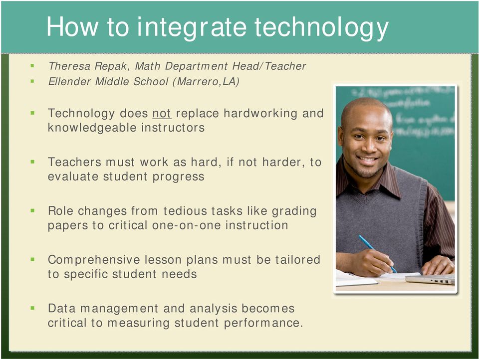 progress Role changes from tedious tasks like grading papers to critical one-on-one instruction Comprehensive lesson