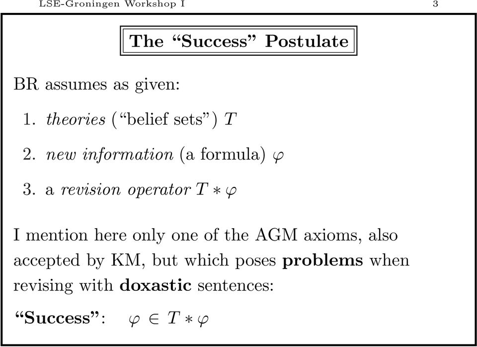 a revision operator T ϕ I mention here only one of the AGM axioms, also