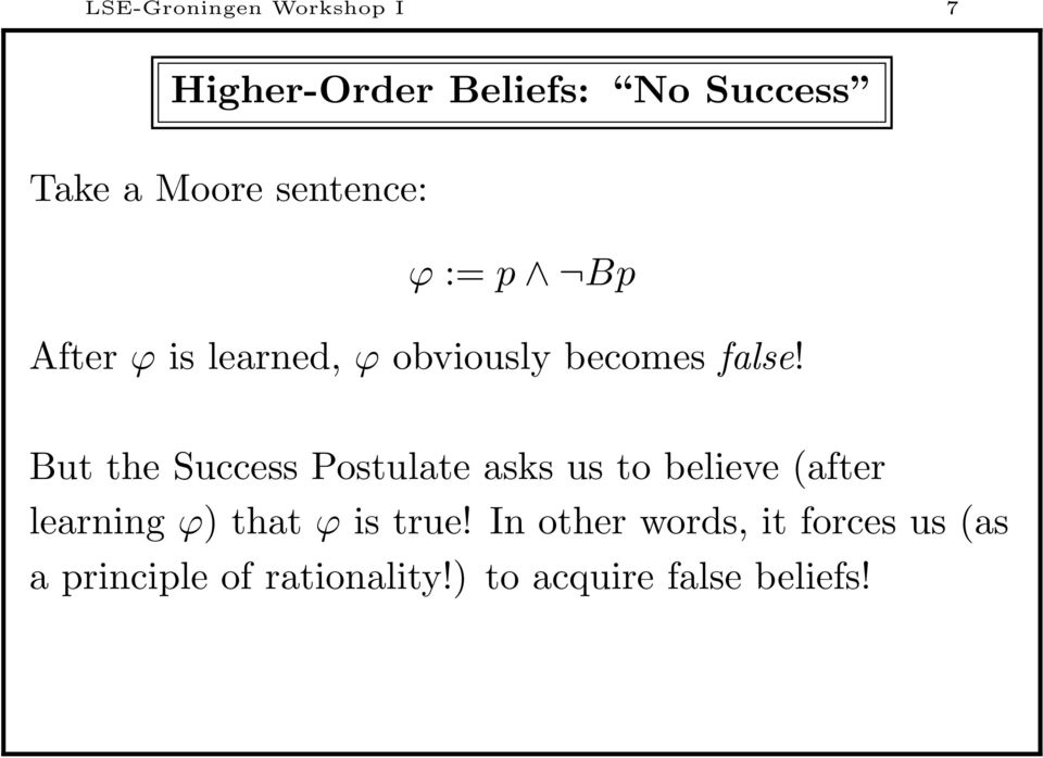 But the Success Postulate asks us to believe (after learning ϕ) that ϕ is