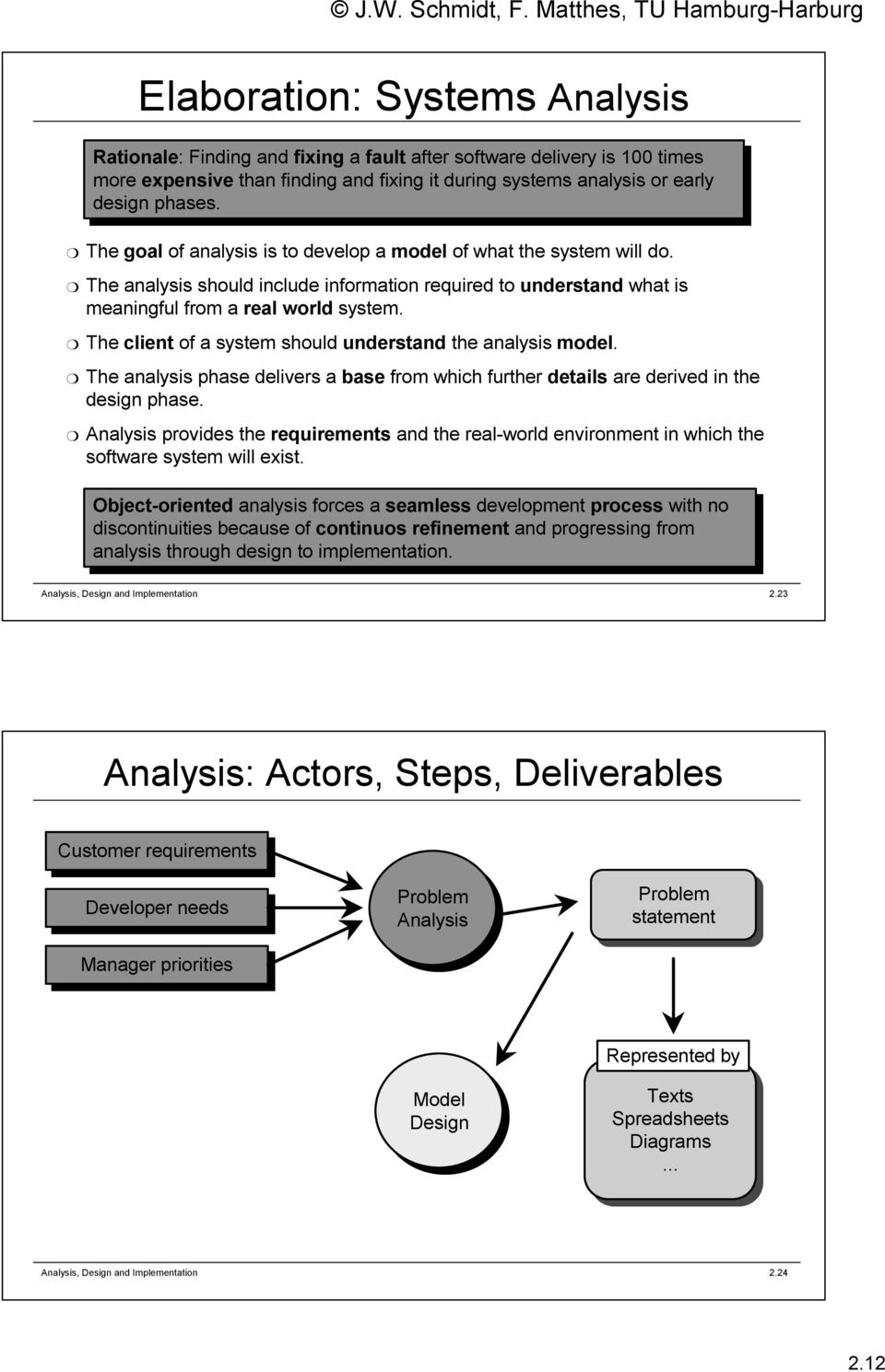 The client of a system should understand the analysis model. The analysis phase delivers a base from which further details are derived in the design phase.