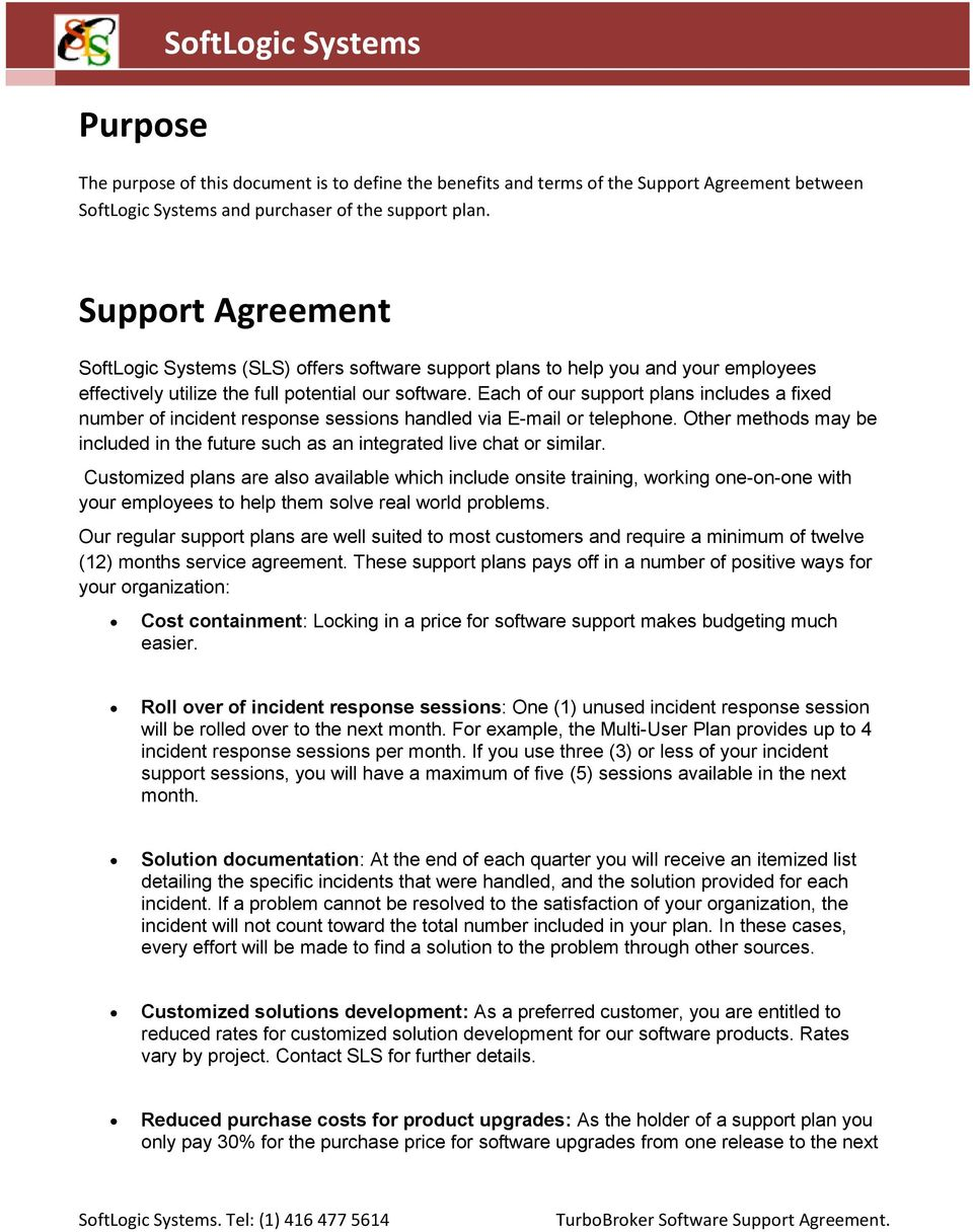 SoftLogic Systems Software Support Agreement for TurboBroker Customs