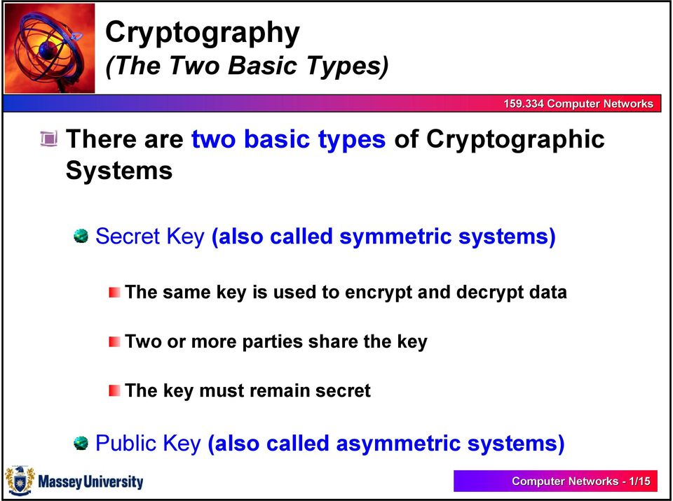 encrypt and decrypt data Two or more parties share the key The key must