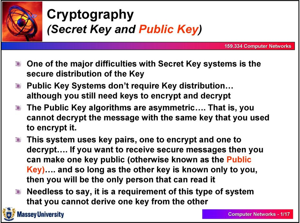 This system uses key pairs, one to encrypt and one to decrypt. If you want to receive secure messages then you can make one key public (otherwise known as the Public Key).