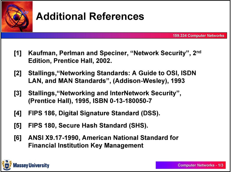 Networking and InterNetwork Security, (Prentice Hall), 1995, ISBN 0-13-180050-7 [4] FIPS 186, Digital Signature Standard (DSS).