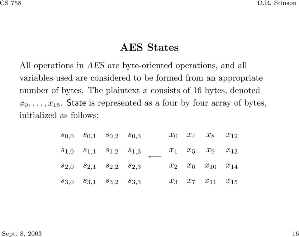 State is represented as a four by four array of bytes, initialized as follows: s 0,0 s 0,1 s 0,2 s 0,3 s 1,0 s 1,1 s