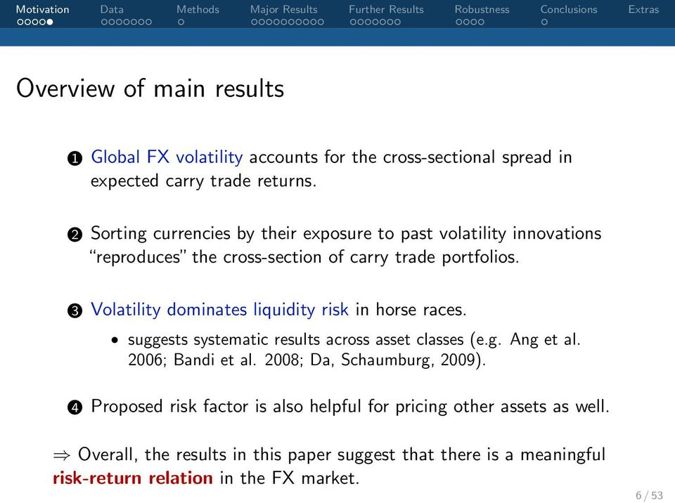 3 Volatility dominates liquidity risk in horse races. suggests systematic results across asset classes (e.g. Ang et al. 2006; Bandi et al.
