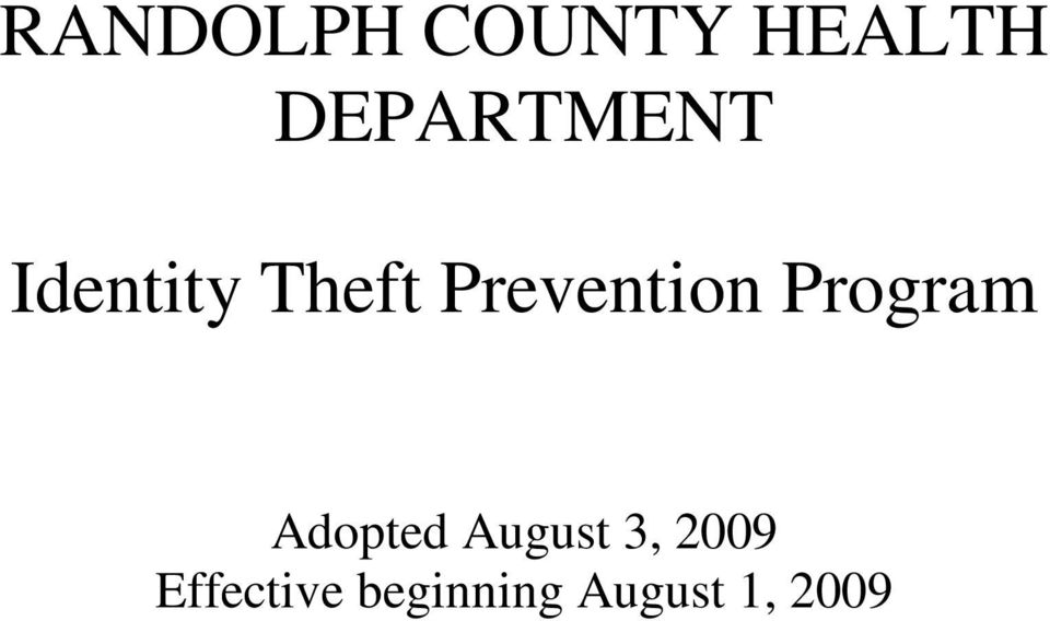 Prevention Program Adopted