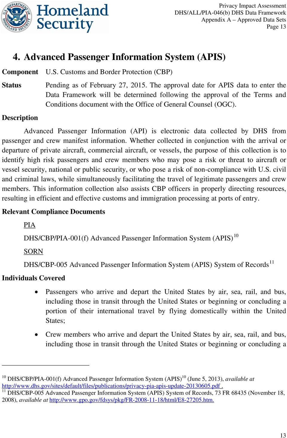 Advanced Passenger Information (API) is electronic data collected by DHS from passenger and crew manifest information.