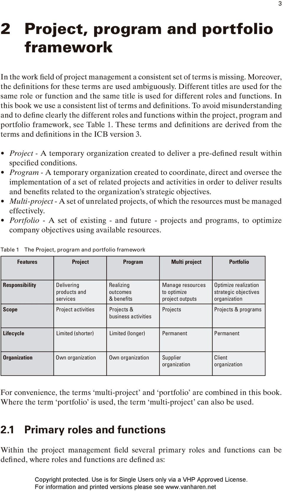To avoid misunderstanding and to define clearly the different roles and functions within the project, program and portfolio framework, see Table 1.