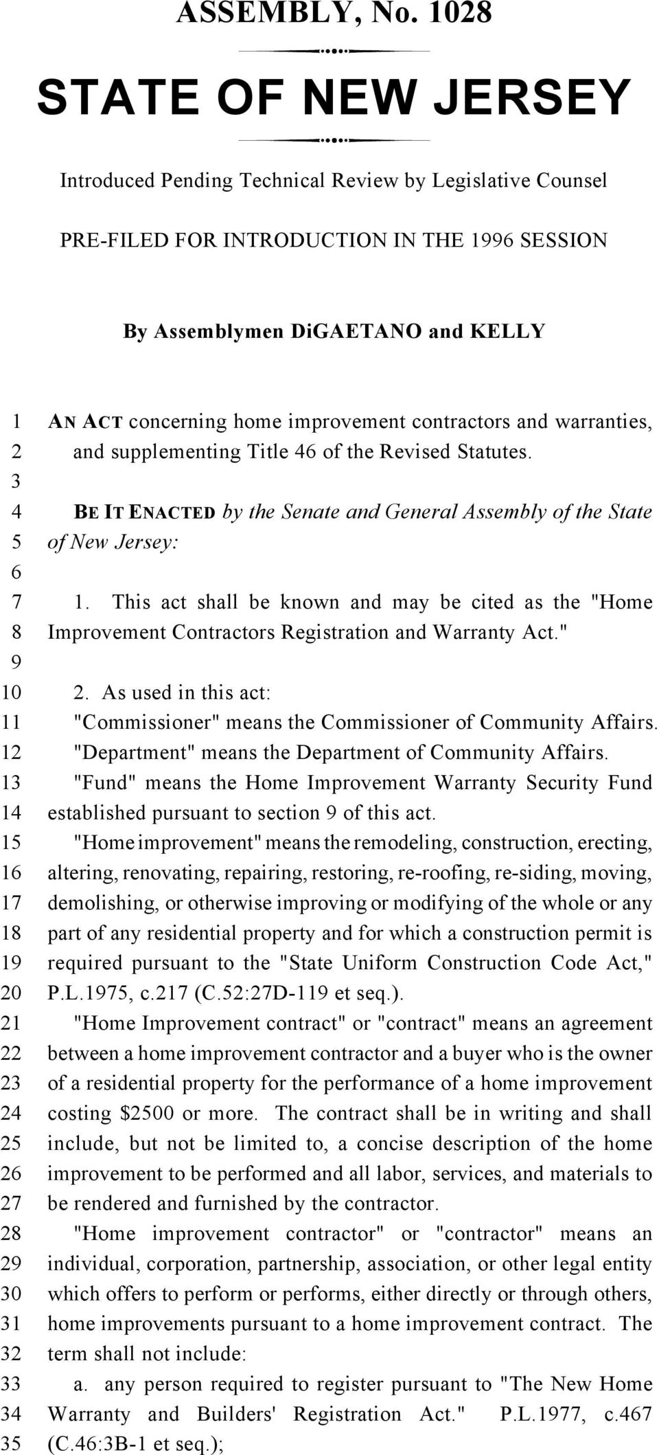contractors and warranties, and supplementing Title of the Revised Statutes. BE IT ENACTED by the Senate and General Assembly of the State of New Jersey:.