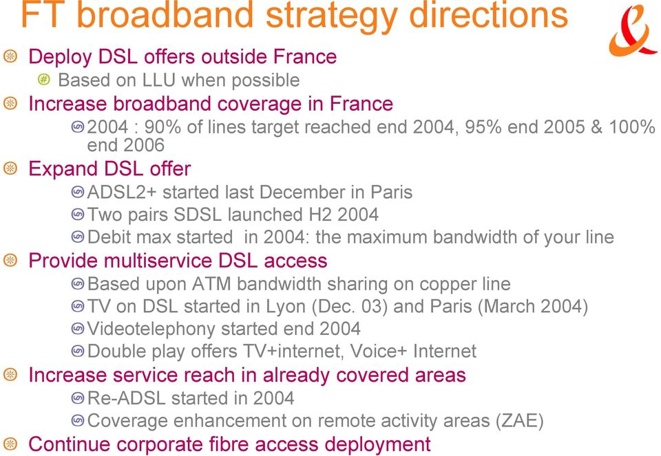 multiservice DSL access Based upon ATM bandwidth sharing on copper line TV on DSL started in Lyon (Dec.
