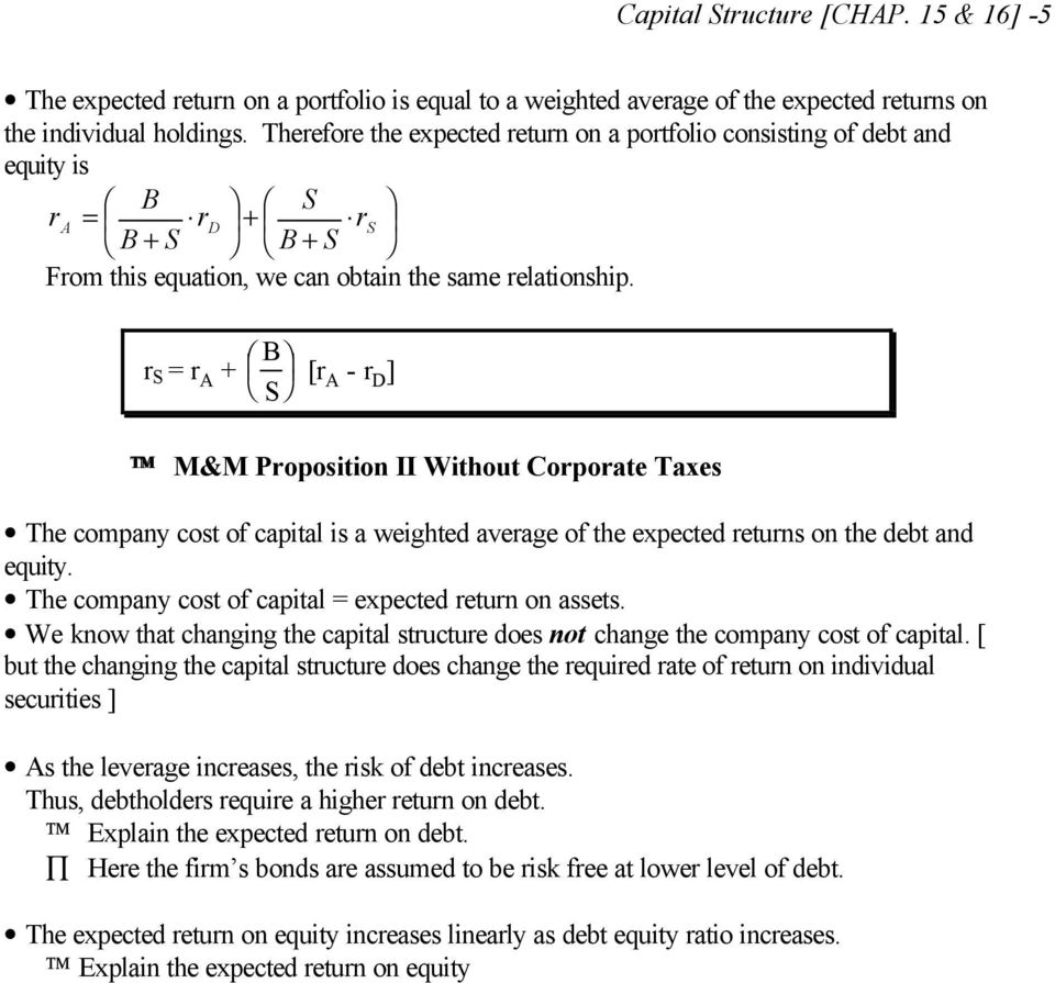 r S = r A + [r A - r D ] M&M Proposition II Without Corporate Taxes The company cost of capital is a weighted average of the expected returns on the debt and equity.
