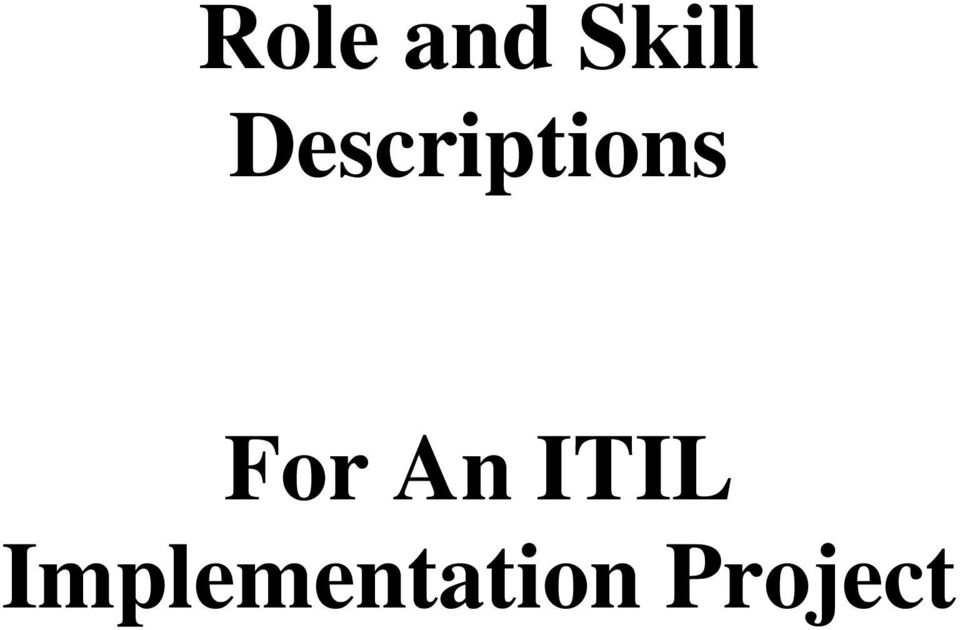 For An ITIL