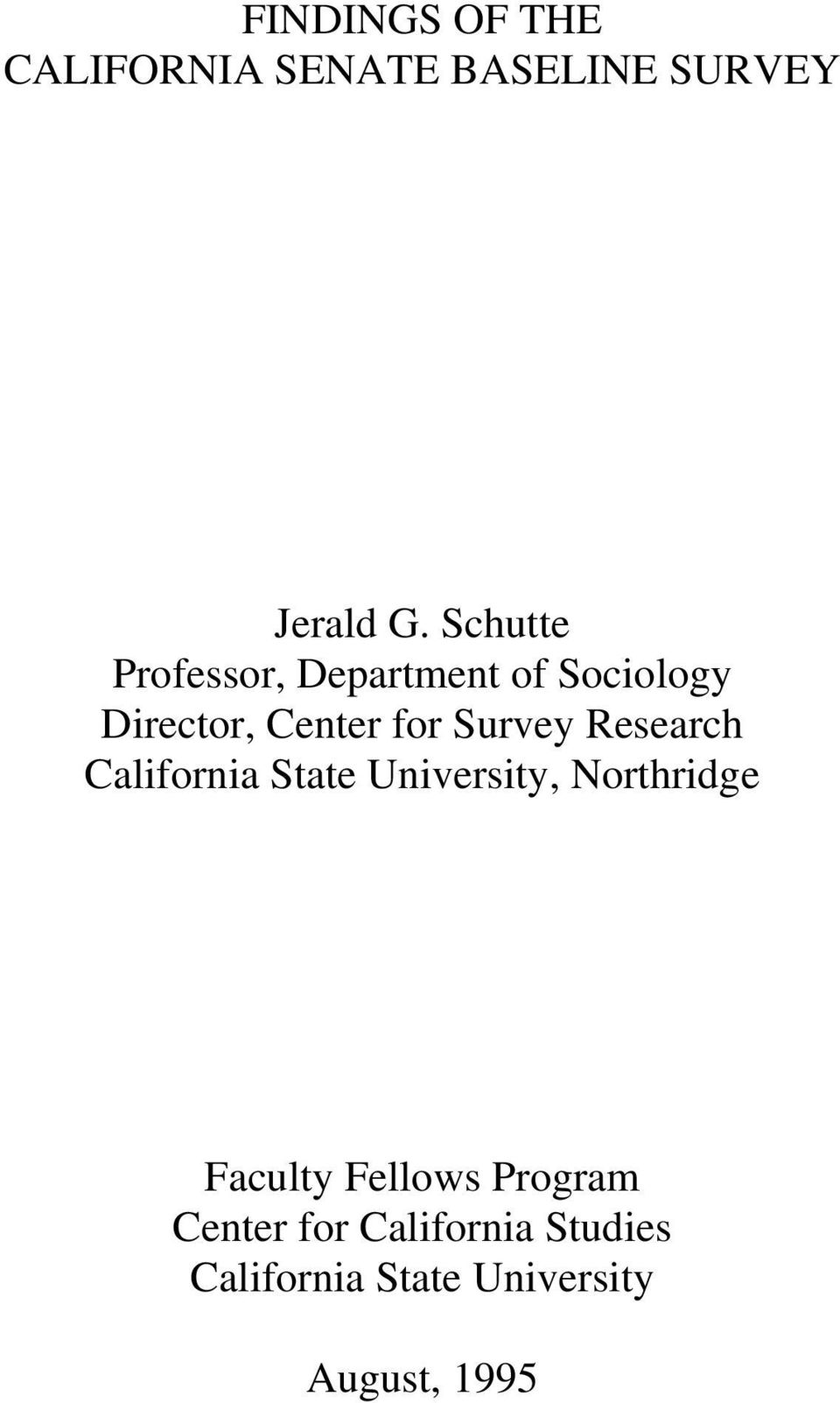 Survey Research California State University, Northridge Faculty