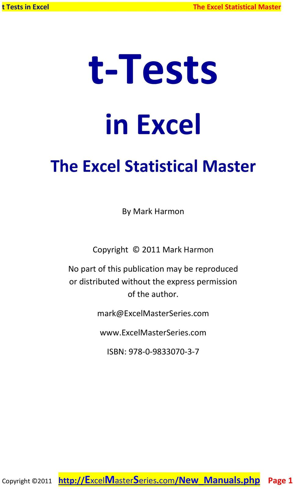 of the author. mark@excelmasterseries.